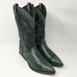 DINGO Green & Black Leather Western Cowboy Boots 6